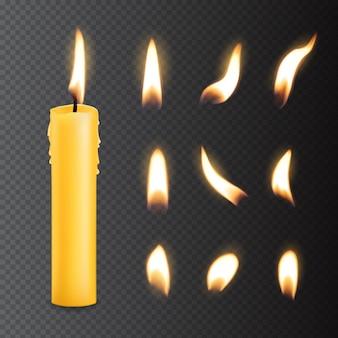 Kerze mit feuerflamme beleuchtet realistische isolierte vektorsätze
