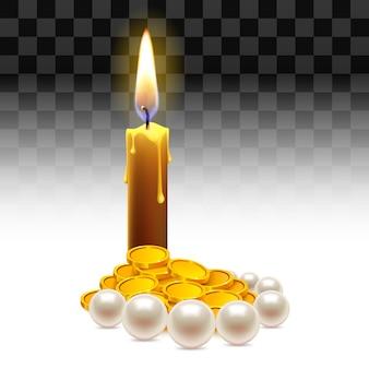 Kerze mit goldmünzen und perlen. reichtum, schatz, juwel.