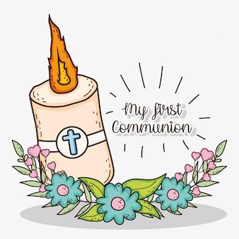 Kerze mit kreuz und blumen zur erstkommunion