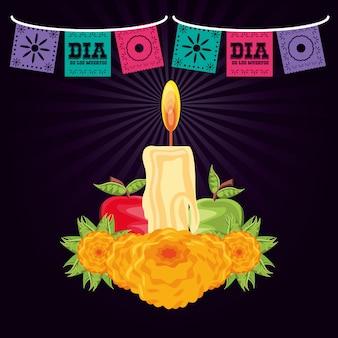 Kerze zum dekorieren am tag der toten