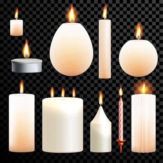 Kerzen 3d realistischer satz flamme brennenden transparenten hintergrund