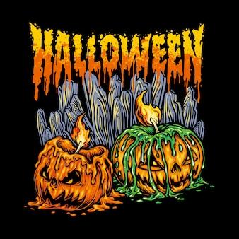 Kerzen halloween kopf jack laterne illustrationen