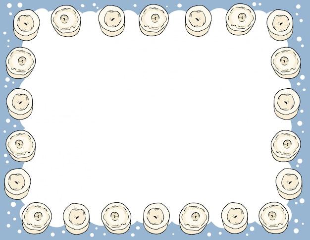 Kerzen in der komischen art kritzelt draufsichtpostkarten-modellschablone. briefformat banner mit platz für ihren text. gemütliche boho-plakatkerzenverzierung