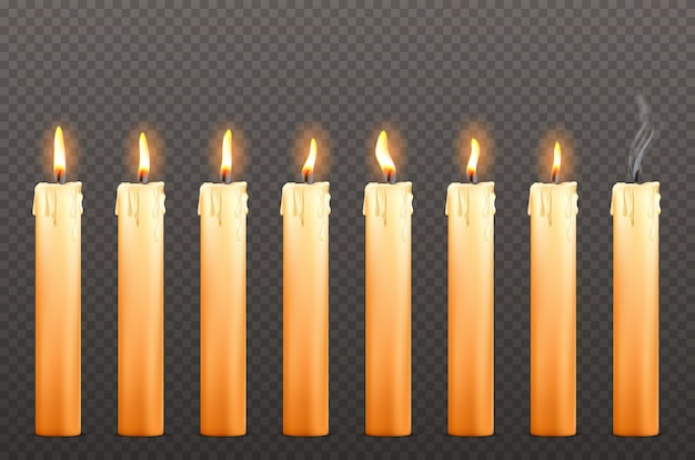 Kerzen mit verschiedenen feuerflammen und wachstropfen
