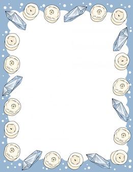 Kerzen- und quarzkristallverzierung im comic-stil kritzelt briefpapier von oben