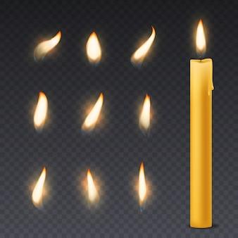 Kerzenflamme. romantische feiertagswachs brennende kerzen beleuchten nahes warmes feuerdocht-spa-weihnachtsessendekoration