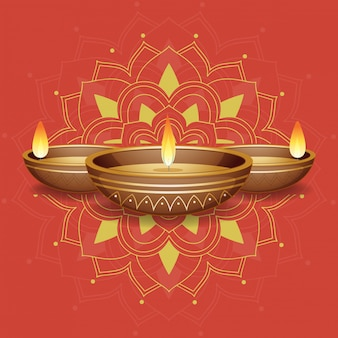 Kerzenlichter auf rotem mandala