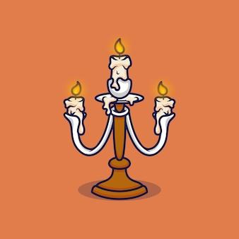 Kerzenständer-vektor-illustration auf isoliertem objekt