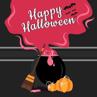 Kessel mit dampf und halloween-banner