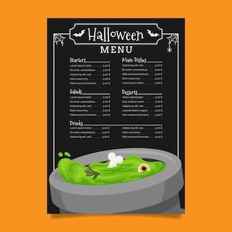 Kessel mit grüner flüssiger halloween-restaurantmenüschablone