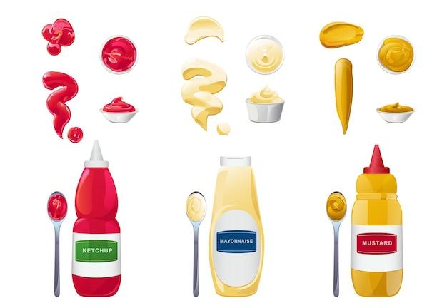 Ketchup-mayonnaise-senf-saucen in flaschen schüsseln und löffel mit realistischen spritzern
