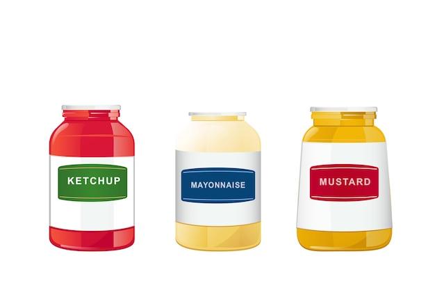 Ketchup-mayonnaise-senf-saucen in gläsern stellen realistische illustration ein, die auf weißem hintergrund lokalisiert wird