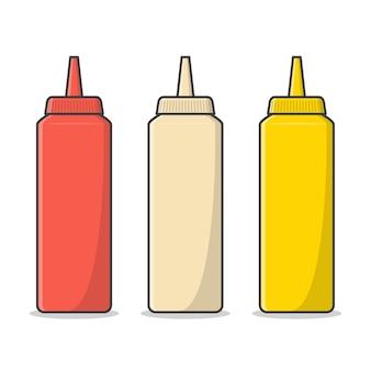 Ketchup, mayonnaise und senf plastikflasche flach