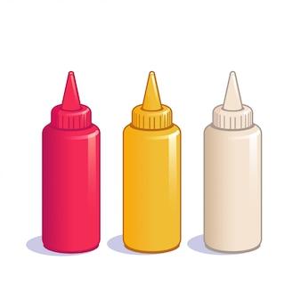 Ketchup-, senf- und mayonnaiseflaschen.