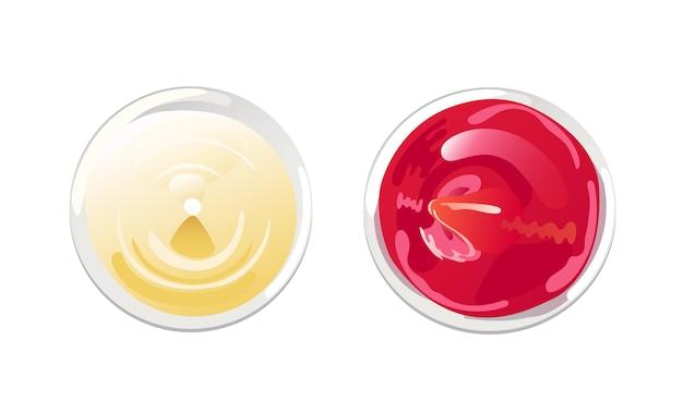 Ketchup und mayonnaise im schüssel-draufsicht-set. vektor-illustration im flachen cartoon-stil.