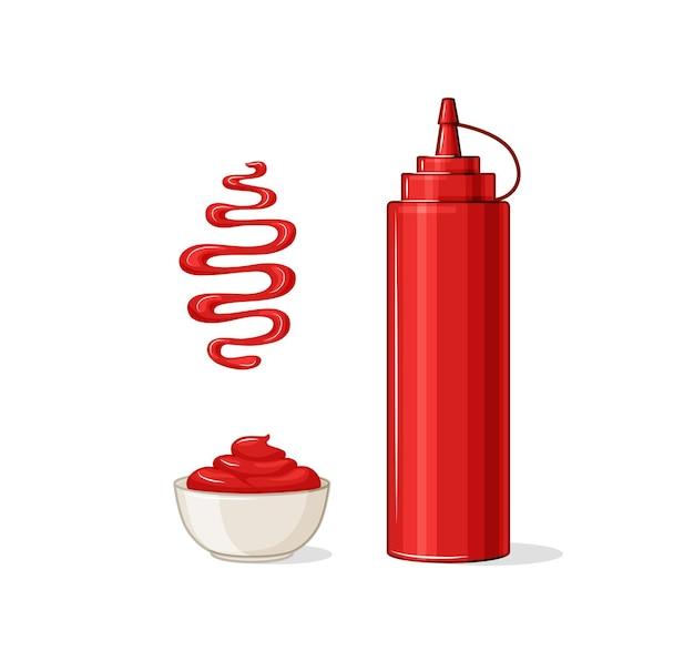 Ketchup-vektor-set. eine flasche, eine sauciere, ein stück ketchup.