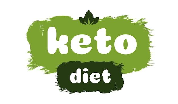 Keto-diät-freundliches ernährungsvektorsymbol auf grüner organischer textur isoliert auf weißketogener ernährung
