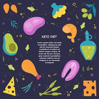 Keto diät poster vorlage. lebensmittel mit hohem fettgehalt. cartoon-stil. auf einem dunklen hintergrund mit platz für ihren text.