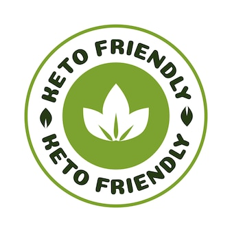 Keto-freundliche diät-ernährungs-vektor-abzeichen auf grüner organischer textur isoliert auf weißketogener diät
