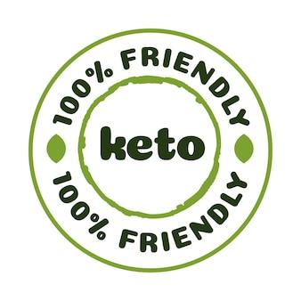 Keto-freundliches abzeichen ernährung isoliert auf weißem hintergrundketogene diät-zeichen keto-diät-menü