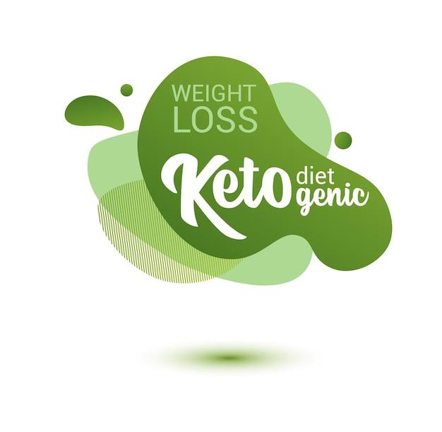 Keto freundliches abzeichen. grünes amöben-design von aufklebern für keto-diät-menü, poster, flyer.