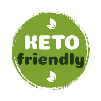 Keto-freundliches zeichen-diät-ernährungs-abzeichen auf grüner organischer textur, isoliert auf weißketogener ernährung