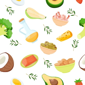 Keto-lebensmittel und -produkte nahtloses musterkokos-brokkoli-avocado-lachs-garnelen-mandel und -olive