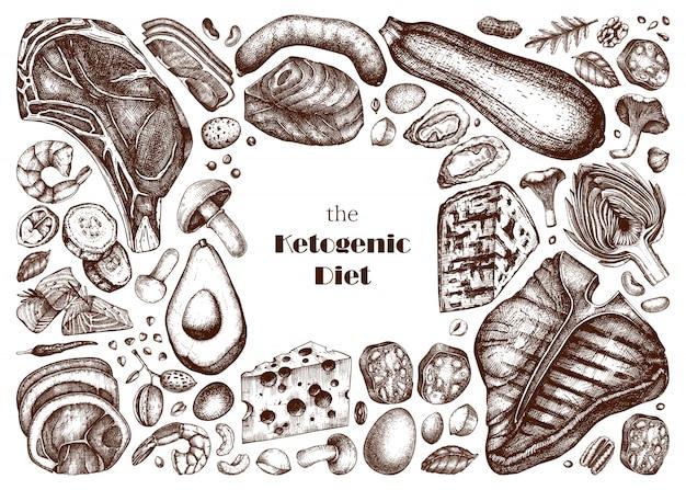 Ketogene diät illustrationen gesetzt. handgezeichnete skizzen von bio-lebensmitteln und milchprodukten. keto-diätelemente - fleisch, gemüse, getreide, nüsse, pilze.