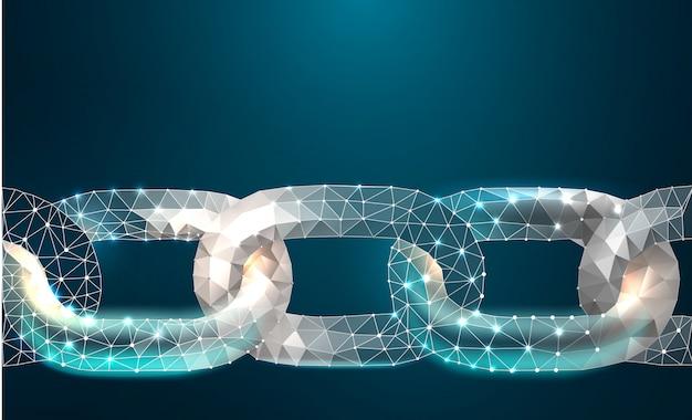 Kette blockchain verbindungs-zeichen-niedrige polyentwurfs-internet-technologie-kette
