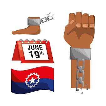 Kette in der hand und im fuß mit kalender und flagge