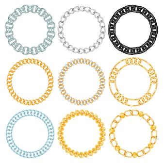 Ketten link stärke verbindung vektor grenzen von metall verknüpften teilen rahmen und eisen ausrüstung schutz starkes zeichen glänzenden designraum.