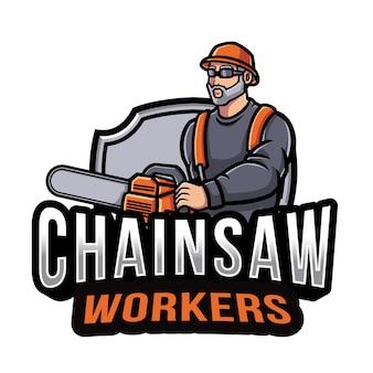 Kettensäge arbeiter logo vorlage