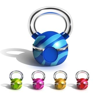Kettlebell im lustigen mehrfarbigen design-set