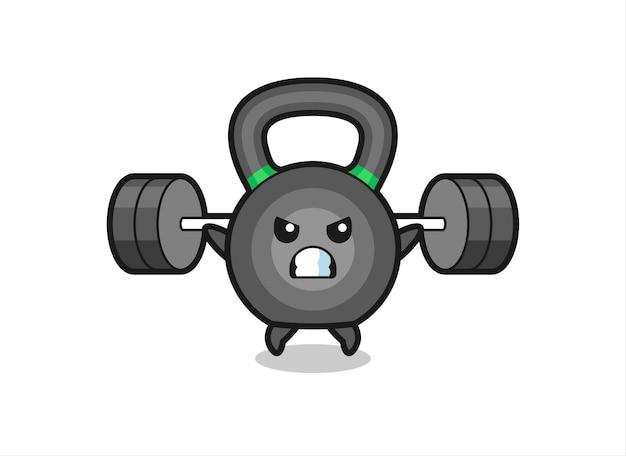 Kettlebell-maskottchen-cartoon mit einer langhantel, süßes design für t-shirt, aufkleber, logo-element