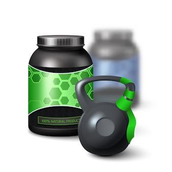 Kettlebell und protein-shake-container