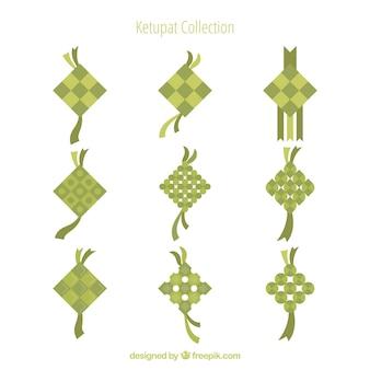 Ketupat-hintergrund in der flachen art