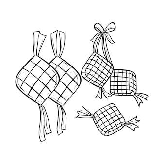 Ketupat illustration für eid mubarak mit doodle-stil