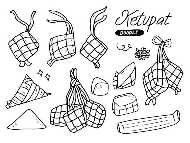 Ketupat-reisillustration mit bestandteilen im linienstil
