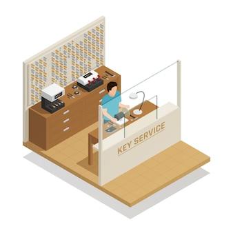 Key service isometrische zusammensetzung