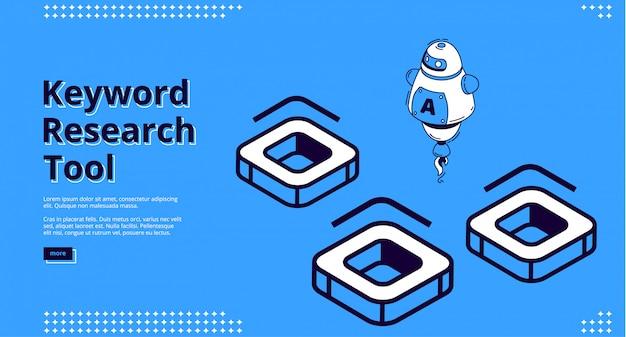 Keyword-recherche-tool mit isometrischen symbolen