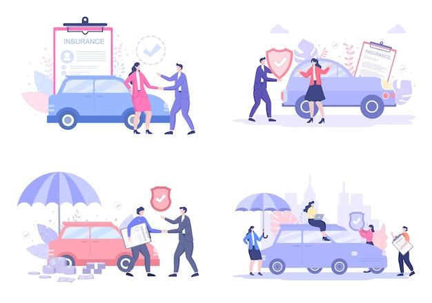 Kfz-versicherung illustrationen gesetzt