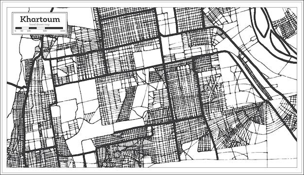 Khartoum sudan stadtplan in schwarz-weiß-farbe