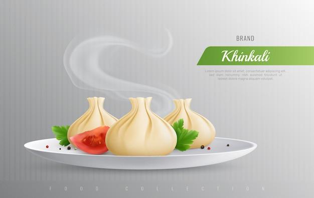 Khinkali realistische komposition als werbung für die beliebtesten gerichte der georgischen küche