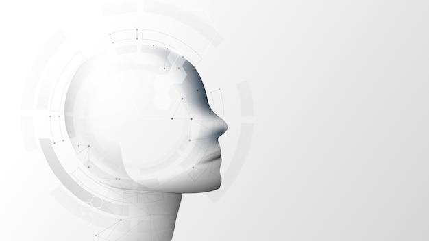 Ki, künstliche intelligenz. ai digitales gehirn. technologischer hintergrund