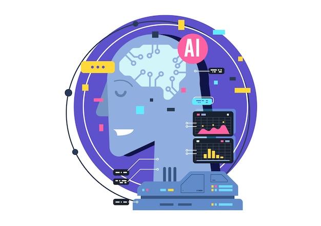 Ki, künstliches intelligenzikonenkonzept, gehirn mit elektronischen neuronen. flache illustration. ki künstliche intelligenz und menschliche intelligenz konzept geschäftsillustration.