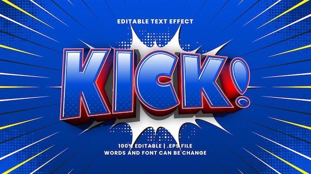 Kick-comic-bearbeitbarer texteffekt mit cartoon-textstil