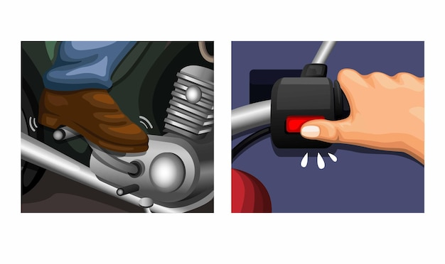 Kickstarter auf vintage motorradanleitungsillustrationen
