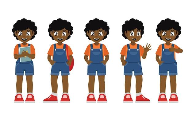 Kid afrikanisches mädchen in verschiedenen ausdrücken und gesten gesetzt