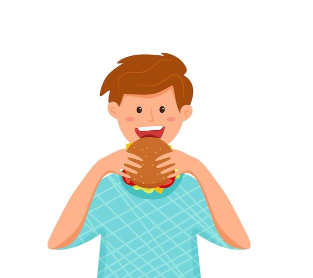 Kid beißende burger fast food vector illustration buntes cartoon-stil-konzept des glücklichen hungrigen jungen