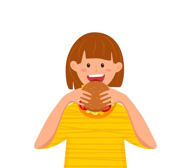 Kid beißende burger-fast-food-vektor-illustration. buntes cartoon-stil-konzept des glücklichen hungrigen mädchens, das produkteinführung isst und hamburger für werbung, restaurantmenü in den händen hält. designvorlage